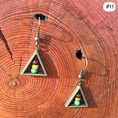 gold triangle tri-color beaded earring #11