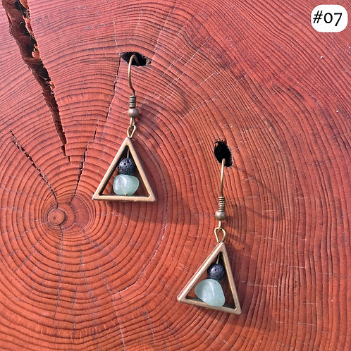 gold triangle black and green beaded earring #07