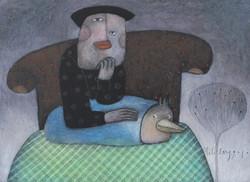 座る画家(絵のみ)