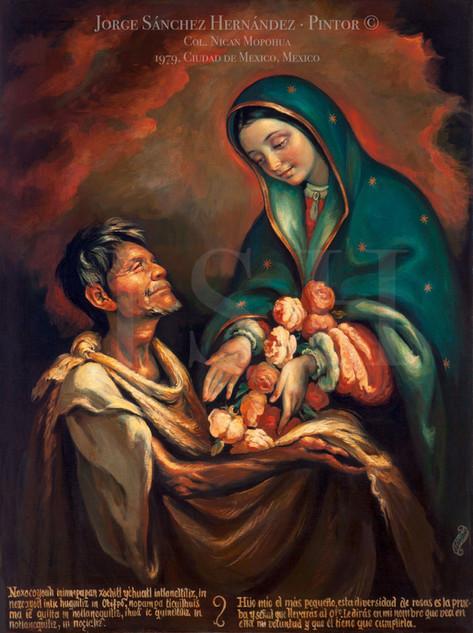 La virgen dando flores a Juan Diego