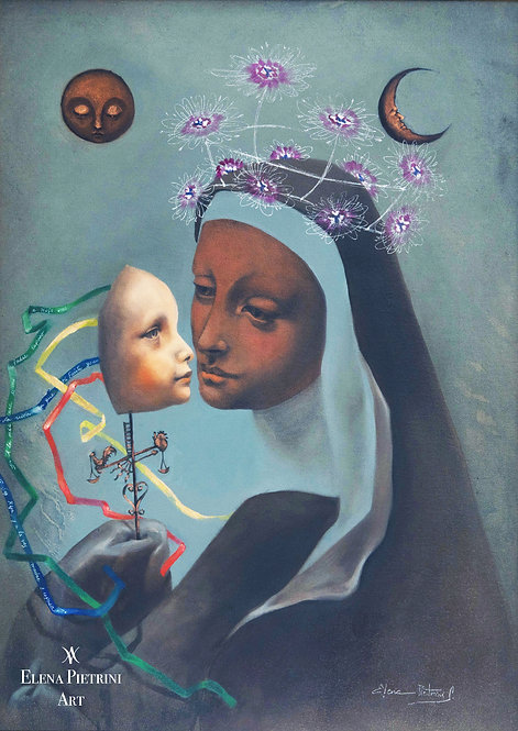 Crowned nun with child