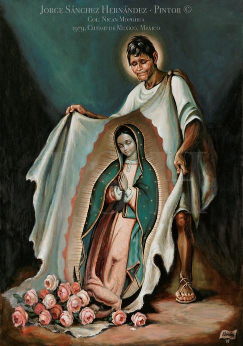 Juan Diego mostrando el ayate milagroso, Col. Museo de la Basílica de Guadalupe