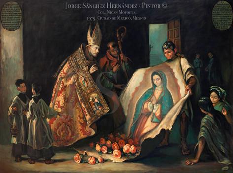 Juan Diego desplegando el Manto