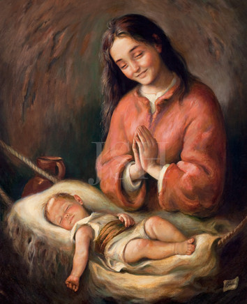 Our Lady watching over her son's sleep