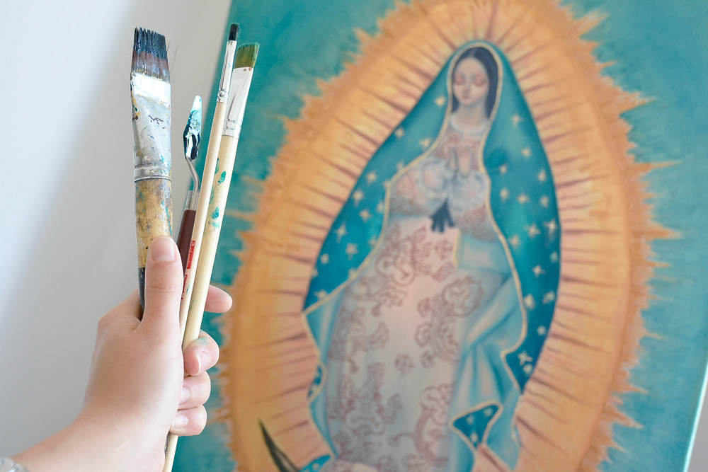 Order your own Our Lady of Guadalupe painting on commission