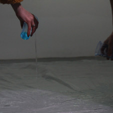 Clear dust sheet laid on floor, warm water mixed with scented bath soap. (12 x 9 ft) 2018