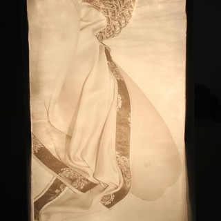 Tracing paper, push pins, foil, clear tape and MDF. (42cm x 29.7cm x 121.92cm)