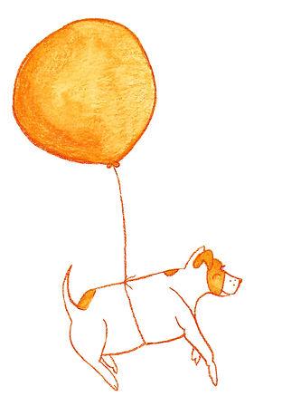 Balloon Ride, Cute Dog, Orange Art, A Note to say Hello