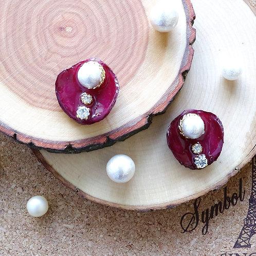 Real dark red rose earrings with Swarovski crystal