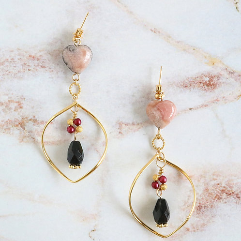 Heart shape Rose quartz earrings with drop hoop