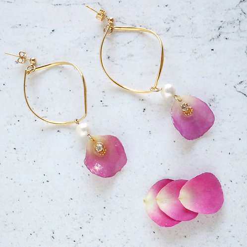Real pink rose earrings with twist drop hoop