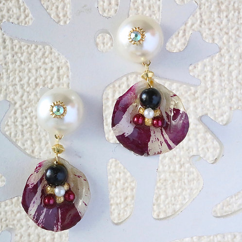 Real wine red tie dye rose earrings white