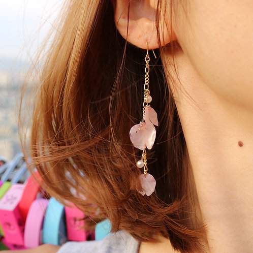 Sakura petals long drop chain earrings | modeled