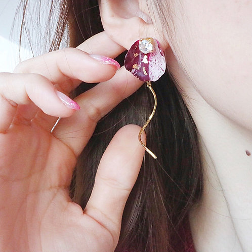 Real wine red tie dye rose earrings | modeled