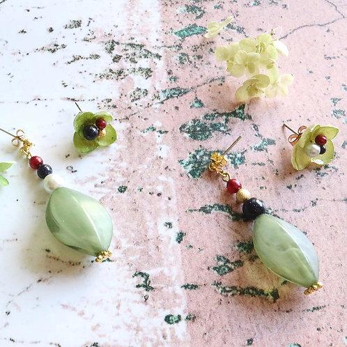 Real green hydrangea earrings