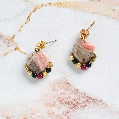 Rose quartz earrings with black onyx