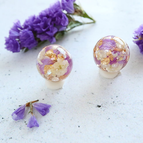 Real purple statice and babys breath earrings