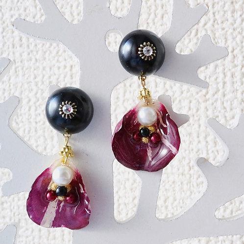 Real wine red tie dye rose earrings black