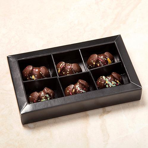 פרלינים משוקולד מריר במילוי שכבת קוקוס - אריזה של 6 יחידות