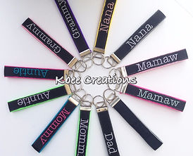 Personalized key fobs for Mommy, Auntie, Daddy, Nana, Mamaw, Grammy, and more!