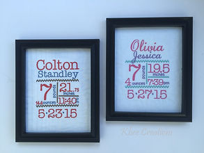 Embroidered birth announcement. Sentimental keepsake for the parents of a newborn.