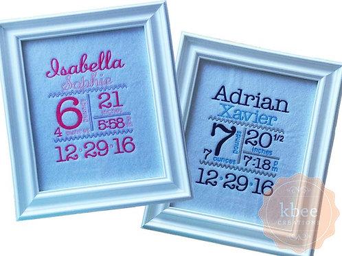 Embroidered Birth Announcement Keepsake