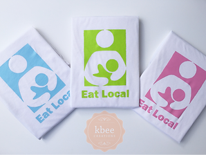 Eat Local breastfeeding t-shirts for mom by Kbee Creations.