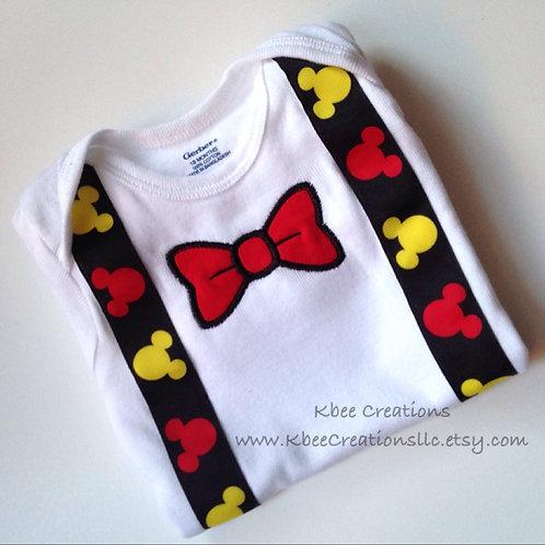 Mickey Suspender and Bowtie Bodysuit