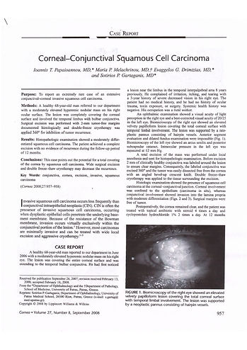 Corneal-conjunctival squamous cell carci