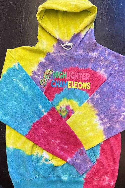 "HIGHLIGHTER CHAMELEONS ""Rainbow"" Tie Dye Hoodie"
