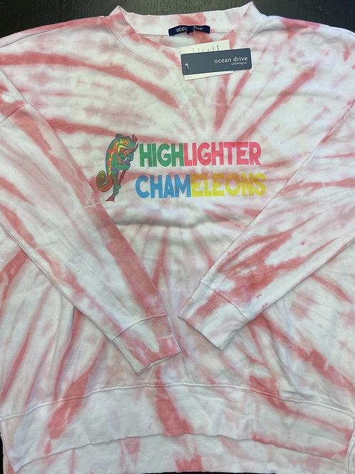 """HIGHLIGHTER CHAMELEONS """"Cap Est"""" Tie Dye Crew Neck Crop Sweater"""