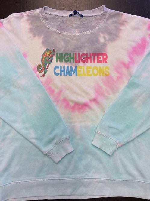 "HIGHLIGHTER CHAMELEONS ""Nosy Breezy"" Tie Dye Crew Neck Crop Sweater"