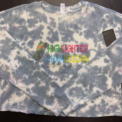 "HIGHLIGHTER CHAMELEONS ""Gravid"" Tie Dye Crew Neck Crop Sweater"