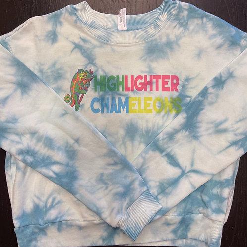 "HIGHLIGHTER CHAMELEONS ""Classic Teal"" Tie Dye Crew Neck Crop Sweater"