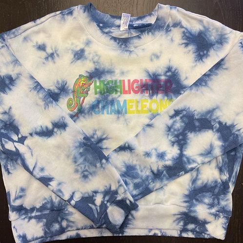 "HIGHLIGHTER CHAMELEONS ""Nosy Boraha"" Tie Dye Crew Neck Crop Sweater"
