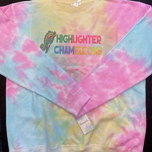 """HIGHLIGHTER CHAMELEONS """"Pastel"""" Tie Dye Crew Neck Sweater"""