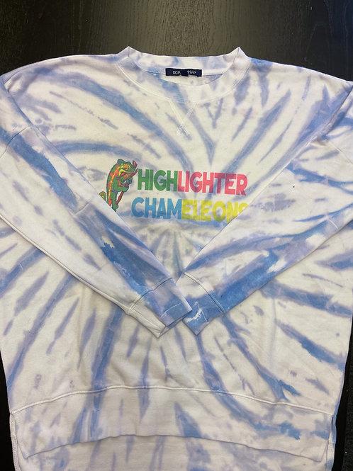 "HIGHLIGHTER CHAMELEONS ""Purple Princess"" Tie Dye Crew Neck Crop Sweater"
