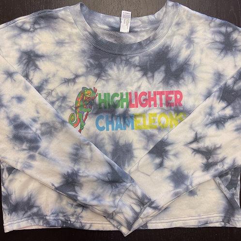 "HIGHLIGHTER CHAMELEONS ""Winter Funk"" Tie Dye Crew Neck Crop Sweater"