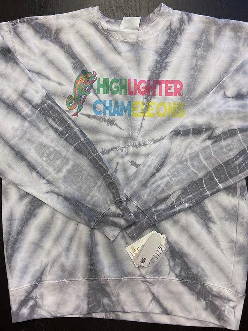 """HIGHLIGHTER CHAMELEONS """"Black Bar"""" Tie Dye Crew Neck Sweater"""