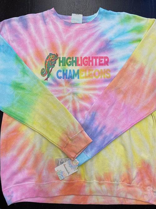 "HIGHLIGHTER CHAMELEONS ""Picasso"" Tie Dye Crew Neck Sweater"