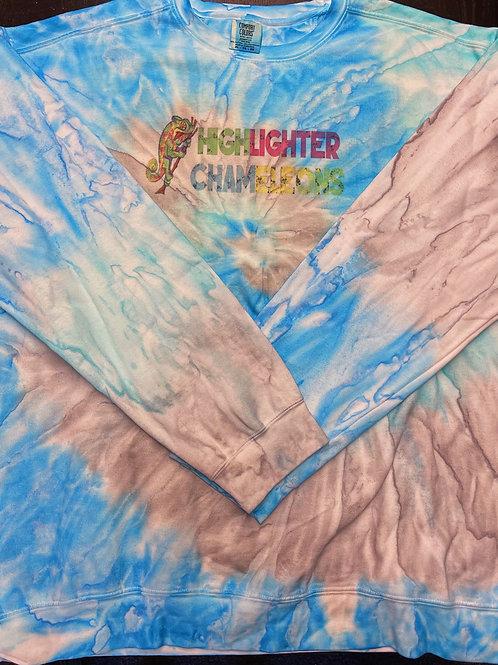 """HIGHLIGHTER CHAMELEONS """"Nosy Be"""" Tie Dye Crew Neck Sweater"""