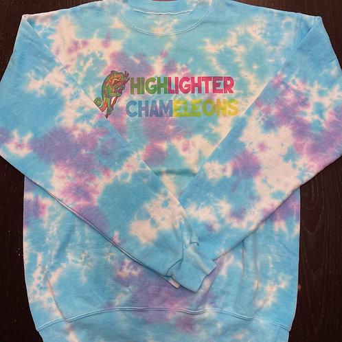 """HIGHLIGHTER CHAMELEONS """"Blurple"""" Tie Dye Crew Neck Sweater"""