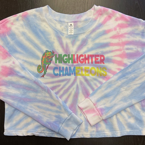 "HIGHLIGHTER CHAMELEONS ""Ambanja"" Tie Dye Crew Neck Crop Sweater"