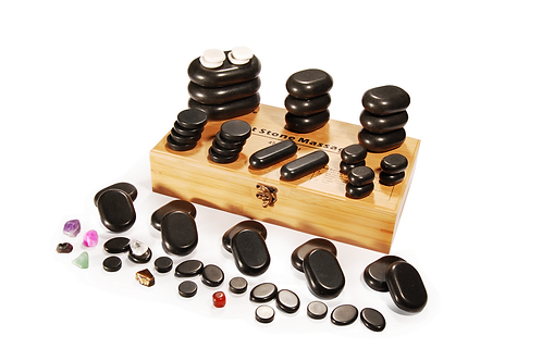 MT 60 Piece Deluxe Hot Stone Set for a full body massage Black Lava