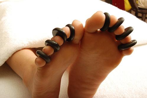 "MT Massage Basalt Hot Stone Toe Set 8 Piece Pack (1.5 "" x 1"" X0.3"")"