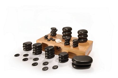 MT 50 Piece Hot Stone Set for a full body massage Black Lava vocano