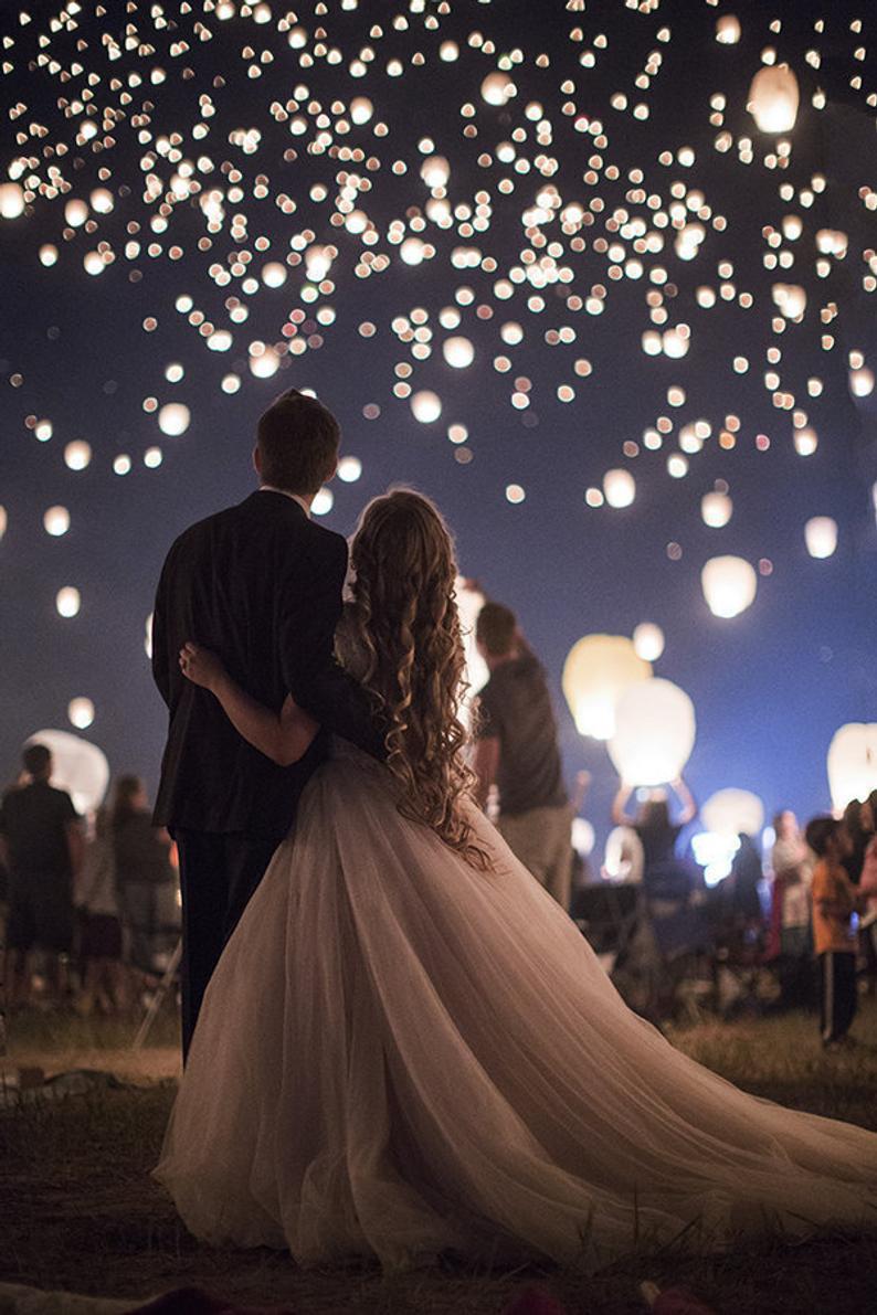 Wish Lanterns at a Wedding