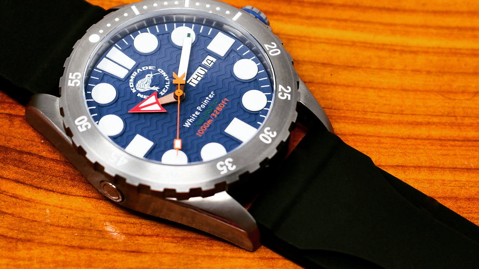 """White Pointer """"Blue"""". 44mm  SOLD OUT ON WWW.HUCKBERRY.COM"""