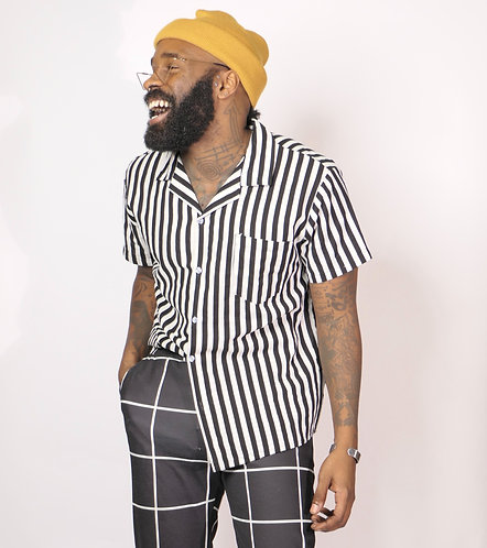 Blk & Wht Striped Shirt