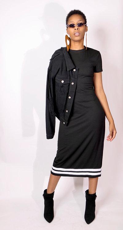 Black T-Shirt Dress w/ white stripe